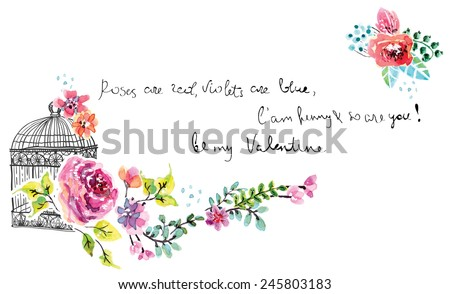 Watercolor floral frame for wedding invitation, save the date illustration with retro cage, Valentine's day decorations - stock vector