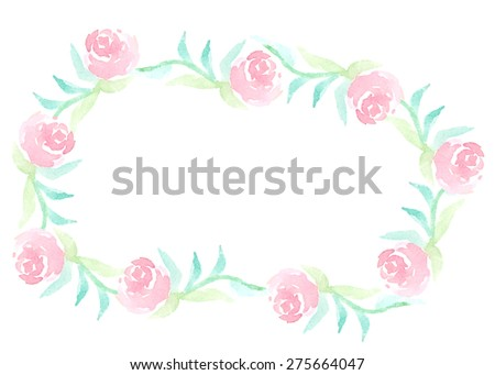 Watercolor floral frame of vintage pink rose flowers. It can be used for wedding invitation, card, postcard, banner, poster, mothers day, women day, birthday, newborn card. Vector illustration  - stock vector