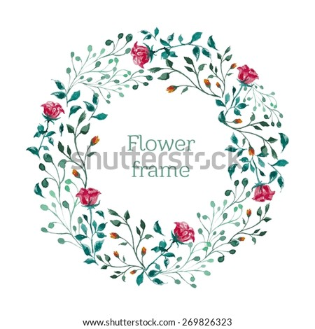 watercolor floral round frame  - stock vector