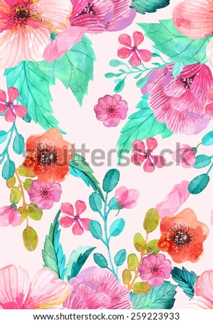 Watercolor floral seamless pattern, colorful natural illustration, Vector - stock vector