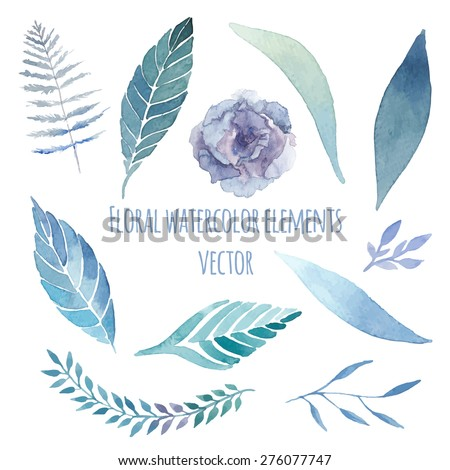 Watercolor floral set with herbs, lisianthus, fern elements set. Vintage blue leaves, flowers and branches. Vector hand drawn design illustration - stock vector