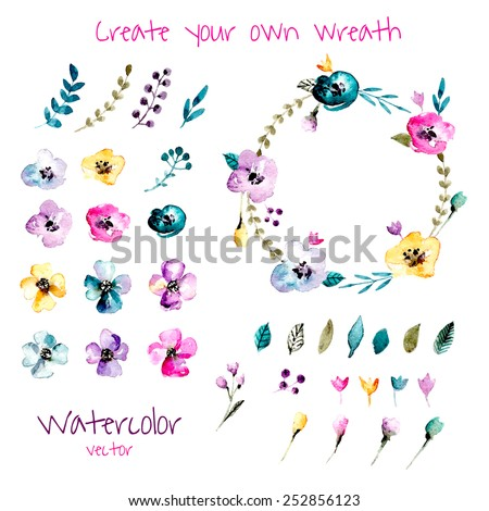 Watercolor floral wreath creator. Set of hand drawn  plants, berries, leaves and flowers for design various combinations. You can create your own compositions using elements.  - stock vector