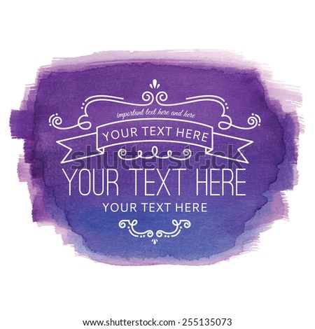 Watercolor Flourish Purple Label - stock vector