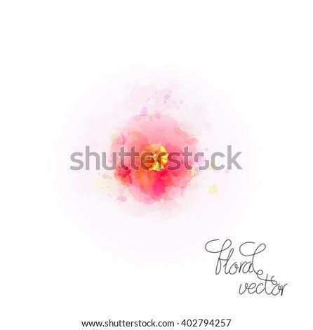 Watercolor flower design - stock vector
