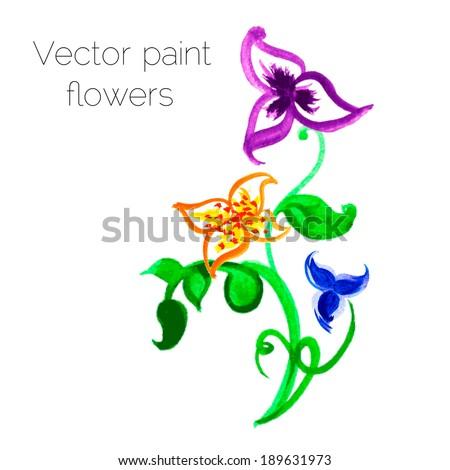 Watercolor flower illustration. Floral decorative element. Vector floral background. - stock vector