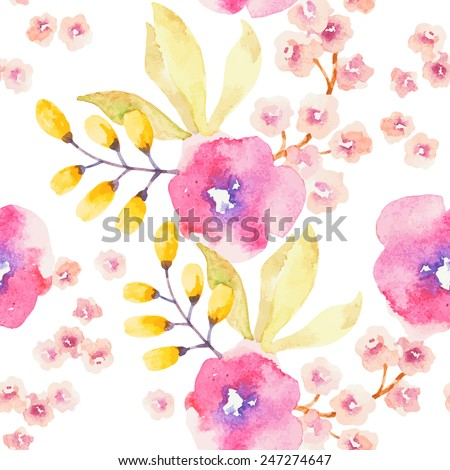 Watercolor flower seamless pattern - stock vector