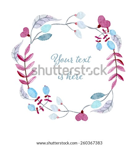 Watercolor flower wreath. Hand drawn vectorized, eps10 - stock vector