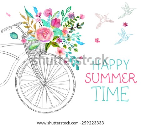 Watercolor flowers and bicycle over white for beautiful design, Vector - stock vector
