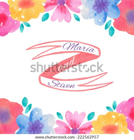 Watercolor flowers and ribbon design. Vector Save the Date card template - stock vector