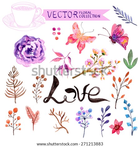 Watercolor flowers collection for different design, Vector - stock vector