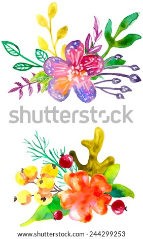 Watercolor flowers compositions, watercolor painting, color vector illustration - stock vector