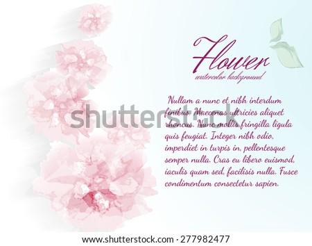 Watercolor flowers peonies with transparent elements. - stock vector