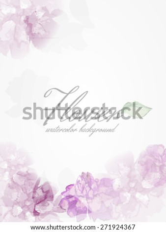 Watercolor flowers peonies with transparent elements. EPS10 format - stock vector