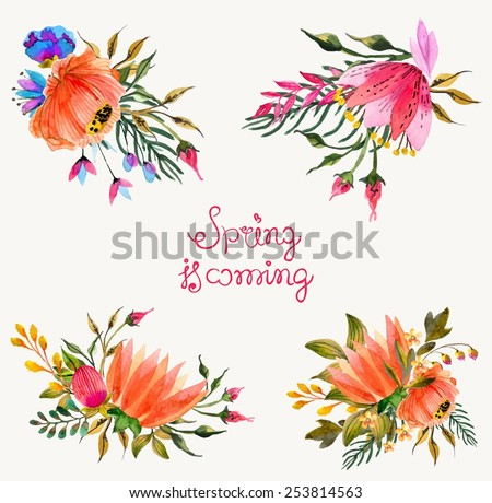 Watercolor flowers set. Colorful floral collection with leaves and flowers. Spring or summer design for invitation, wedding or greeting cards - stock vector