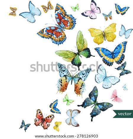 watercolor flying butterflies, vector - stock vector