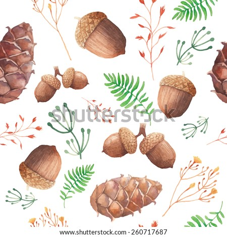 Watercolor forest pattern. Hand painted seamless texture with acorns, cones, twigs and herbs. Natural objects on white background. Vector illustration - stock vector