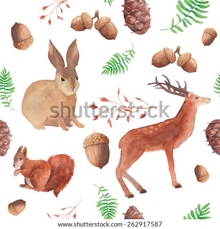 Watercolor forest wildlife pattern. Hand painted seamless texture with deer, red squirrel, rabbit, acorns, cones, twigs and herbs. Natural objects on dark background. Vector illustration - stock vector