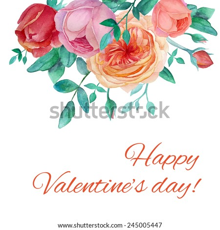 Watercolor garden roses card. Vintage Valentine's day card with leaves, english roses, branches. Vector hand drawn holiday design - stock vector