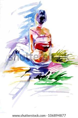 Watercolor girl - stock vector