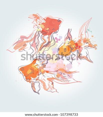 Watercolor golden fishes - stock vector