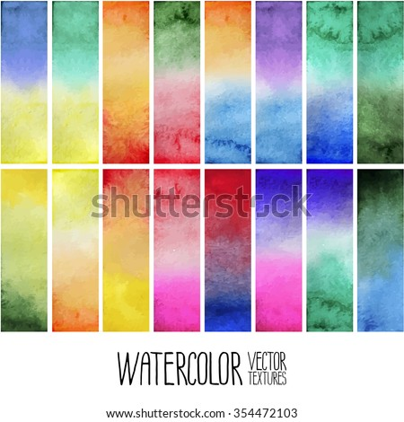 Watercolor gradient rectangles. Multicolor design elements isolated on white background. Easy to cut - stock vector