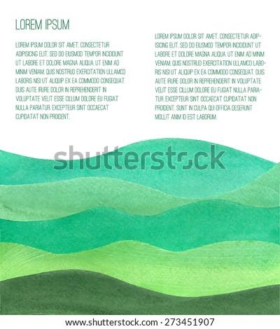 Watercolor Green Hills. Vector illustration.  - stock vector