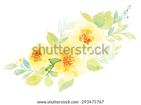 Watercolor greeting card flowers. Handmade. - stock vector