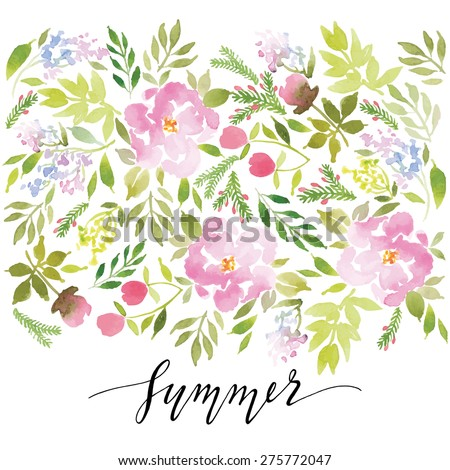Watercolor greeting card flowers. Handmade. Congratulations. Summer. - stock vector