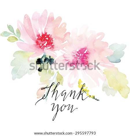 Watercolor greeting card flowers. Handmade. Thank you. - stock vector