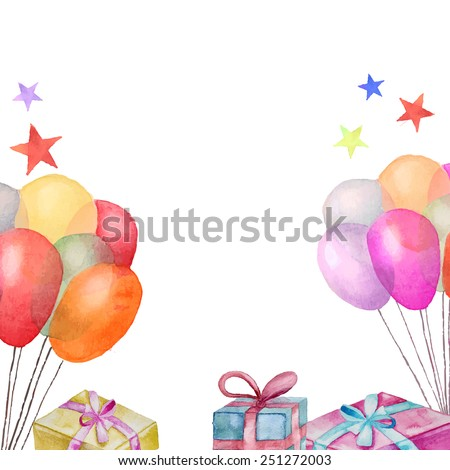 Watercolor greeting card. Hand drawn vintage celebration background with gift boxes, air balloons, stars. Vector border design  - stock vector