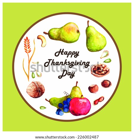 Watercolor greeting card template with harvest. Happy Thanksgiving Day - stock vector
