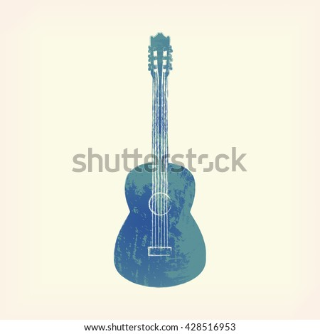 Watercolor guitar isolated. Painted guitar. Design element, guitar. Blue guitar. Music, rock, creation. Watercolor guitar. Guitar icon. Watercolor icon of guitar. Music, rock icon. Watercolor guitar. - stock vector