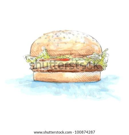 Watercolor Hamburger Vector - stock vector