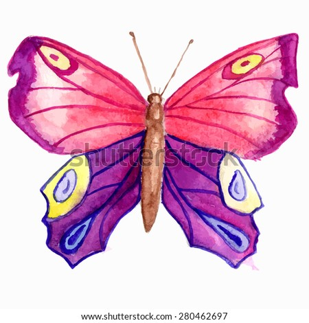 Watercolor hand draw butterfly isolated on white background, pink and violet colors - stock vector