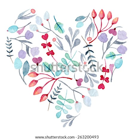 watercolor hand drawn heart with floral ornament, eps10 - stock vector