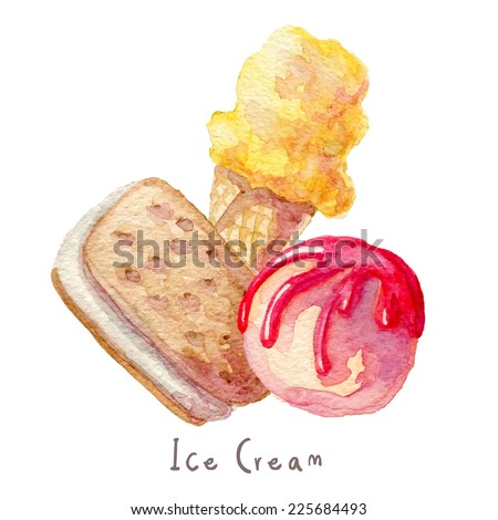 Watercolor hand drawn ice cream set. Eps10  - stock vector
