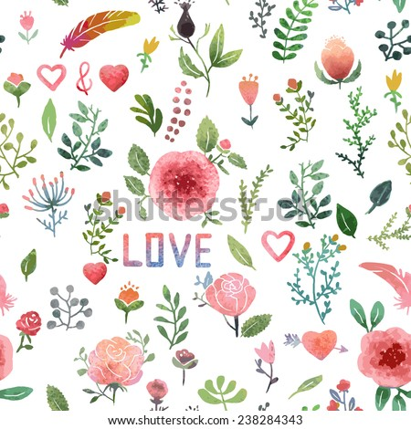 Watercolor hand-drawn nature pattern, isolated.  - stock vector