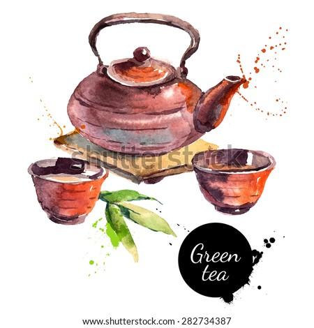Watercolor hand drawn painted tea vector illustration. Menu design - stock vector