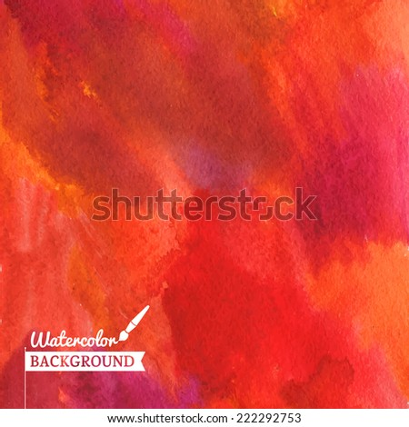 Watercolor hand drawn red fire color background. Abstract vector hand-drawn watercolor background. Colourful template. There is blank place for your text. EPS 10. - stock vector