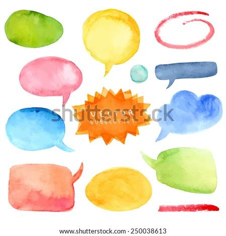Watercolor hand drawn speech bubbles vector - stock vector