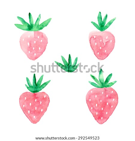 Watercolor hand drawn strawberry set. Vector illustration. - stock vector
