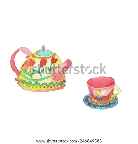 Watercolor hand drawn stylized yellow dotted pot, saucer and mug decoration. Vector aqua color dishes isolated patterns set. - stock vector