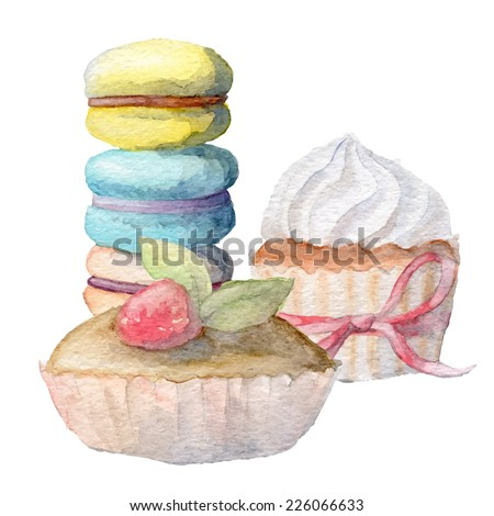 Watercolor hand drawn sweets. Eps10 - stock vector