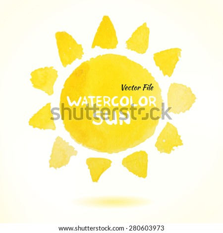 Watercolor Hand Drawn Vector Sun. Isolated Vector Watercolor Hand Drawn Paint Design Element. Colorful background for business design. Advertisement and presentation background. Watercolor Sun - stock vector