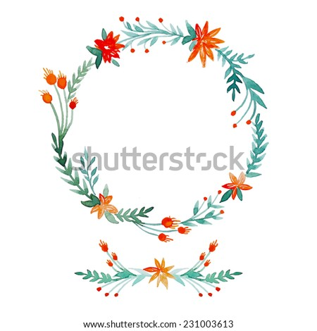 Watercolor hand drawn wreath and posy set. Floral vintage frame in vector. - stock vector