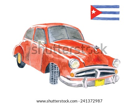 Watercolor Hand painted Red American vintage car with Cuban flag  - stock vector