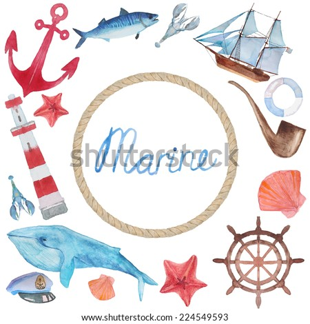 Watercolor hand painted sea frame. Nautical background with vintage realistic elements: fishes, anchor, whale, smoking pipe, lighthouse and shell. - stock vector