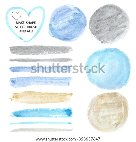 Watercolor hand painting art texture,brushes,splash background,circle design elements.Isolated Vector template.Cyan,gold,gray colors.Beautiful Artistic blur stains.For card,backdrop,invitation - stock vector
