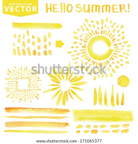 Watercolor hand painting brushes,lettering hello summer,burst,rays,sun shine set,sunburst,ray.Watercolor Yellow.Warm ,Bright design template.Vintage vector background.Holiday,vacation artistic texture - stock vector