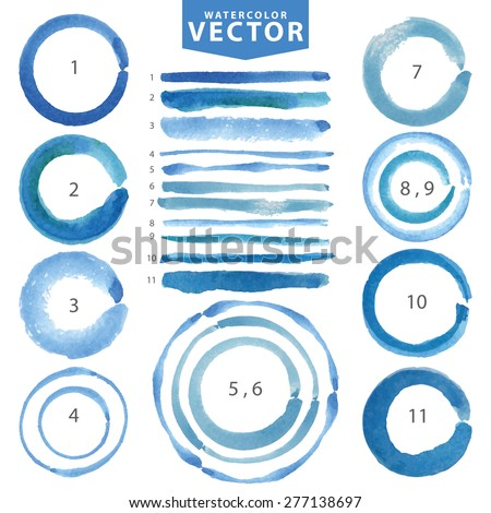 Watercolor hand painting stain circle,line brushes set.Summer blue,cyan color.Watercolor brush design template.Vintage blur vector,summer background.Holiday,vacation artistic texture,water stamp,frame - stock vector